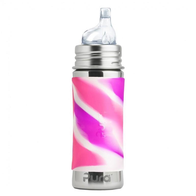 Pura nerezová fľaša s náustkom 325ml - PURA Ružová/biela