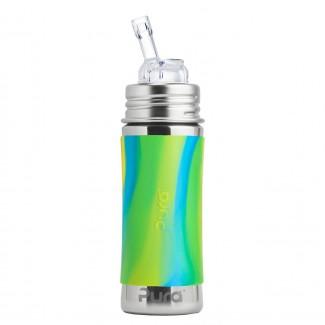 Pura nerezová fľaša so slamkou 325ml - PURA Zelena/aqua