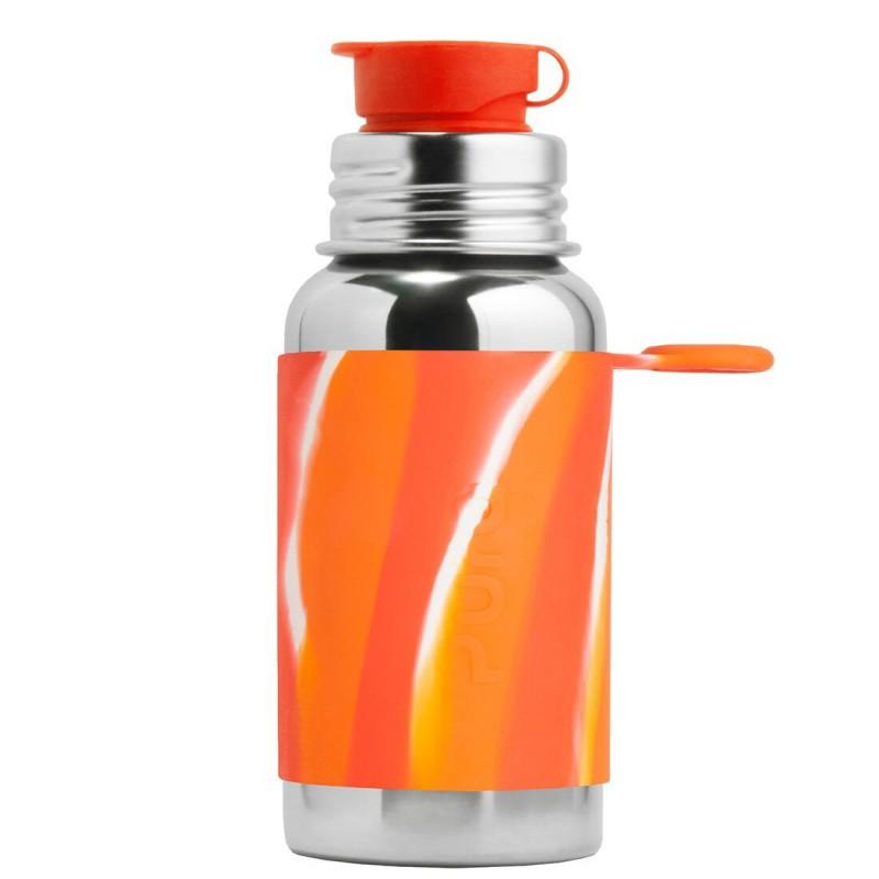 Pura nerezová fľaša so športovým uzáverom 550ml - PURA Oranžová/biela