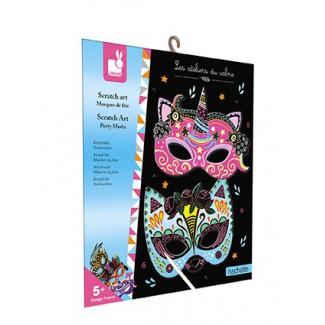 Janod vvškrabovacie obrázky Party Masky Atelier Sada Mini 5+