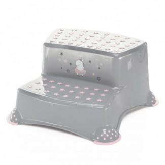 Dvojstupienok k umývadlu - ZOPA Grey/Pink